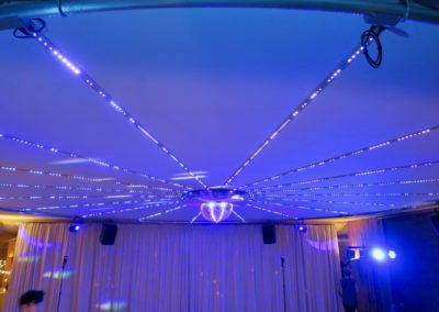 Ceiling LED lighting system with mirrorball