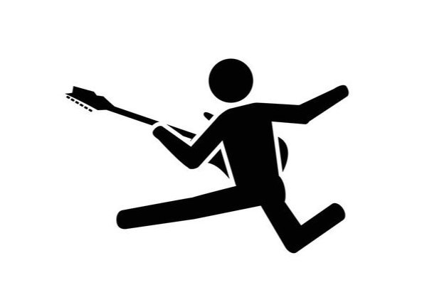 stick man rocking out on guitar
